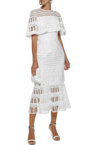 Lela Rose Lace Capelet Midi Dress in White