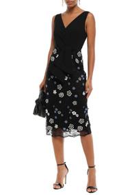 Lela Rose Metallic Floral Lace Applique Midi Dress