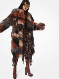 Michael Kors Mongolian Wool Patchwork Coat