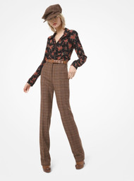 Michael Kors Glen Plaid Wool Trousers