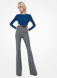 Michael Kors Glen Plaid Wool Flared Trousers