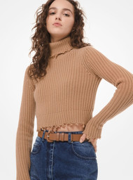 Michael Kors Distressed Cashmere Cropped Turtleneck Sweater