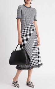 Oscar de la Renta Asymmetric Checked Knit Midi Dress