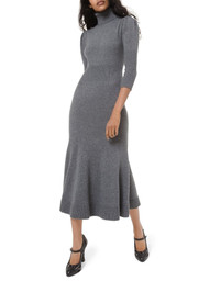 Michael Kors Cashmere Puff-Sleeve Turtleneck Midi Dress
