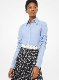 Michael Kors Poplin Scrunched Sleeve Shirt