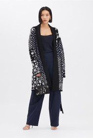 Oscar de la Renta Woodblock Long Cardigan