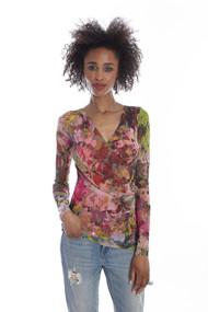 Fuzzi Floral Print Surplice Top