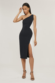 Cushnie Color Blocked One Shoulder Dress