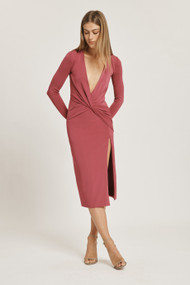 Cushnie Ultrasuede Deep V Twist Midi Dress