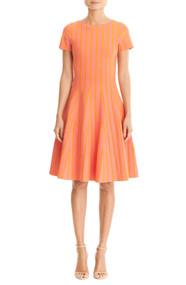 Carolina Herrera Pleated Short-Sleeve Dress