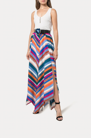 Altuzarra Aquarius Chevron Print Silk Skirt