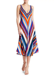 Altuzarra Cardenas Chevron Print Silk Midi Dress