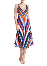 Altuzarra Cardenas Chevron Print Silk Midi Dress