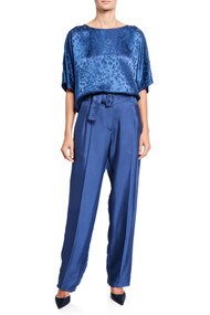 Sally LaPointe Silky Pintucked Pants in Prussian Blue