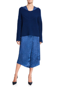 Sally LaPointe Cashmere Wide Neck Sweater in Prussian Blue