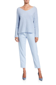 Sally LaPointe Cashmere Wide Neck Sweater in Pale Blue