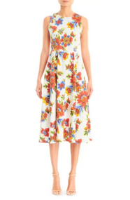 Carolina Herrera Digital Flower Print A-Line Midi Dress