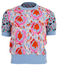 Marni Short Sleeve Floral Jacquard Knit Top