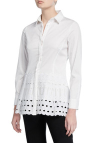 Lela Rose Floral Eyelet Button Up Top