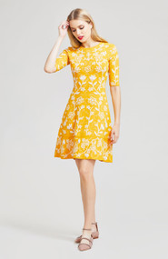 Lela Rose Floral Embroidered Knit Dress in Marigold