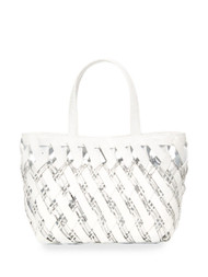 Nancy Gonzalez Small Woven Tote in White
