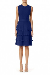 Carolina Herrera Textured Flare Dress in Blue