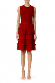 Carolina Herrera Textured Flare Dress in Red