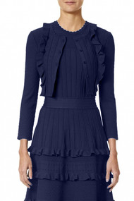 Carolina Herrera Textured Cardigan in Litchfield Blue