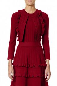Carolina Herrera Textured Cardigan in Red