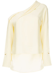 Hellessy Asymmetric Silk Draped Blouse
