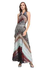 Missoni Halter Dress in Multicolor Burgundy