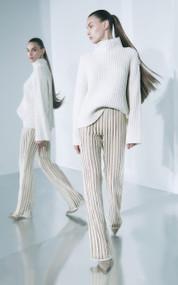 Sally LaPointe Oversized Cashmere Cord Sweater in Cream