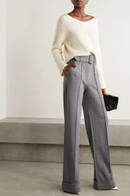 Sally LaPointe Cashmere Wide Neck Sweater in Cream