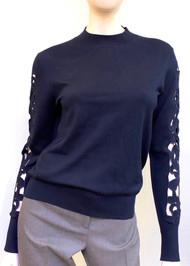 Oscar de la Renta Cutout Sleeve Sweater in Navy