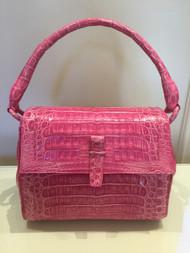 Nancy Gonzalez Small Fuchsia Caiman Handbag