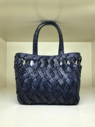 Nancy Gonzalez Small Woven Tote in Navy