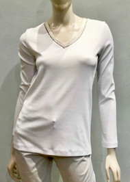 Fabiana Filippi Beaded V-Neck Top in White