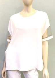 Fabiana Filippi Sheer Sleeve Top in White