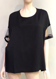 Fabiana Filippi Sheer Sleeve Top in Black