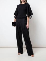 Oscar de la Renta Cut-out Sleeve Blouse in Black