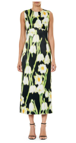 Carolina Herrera Floral Print Sleeveless Dress