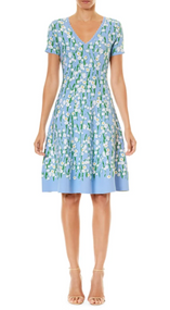Carolina Herrera V-Neck Floral Flare Dress
