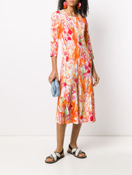 Marni Floral Print Dress in Nectarine