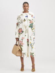 Oscar de la Renta Floral Applique Lamb Coat