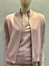 Fabiana Filippi Pink Zip Ribbed Cardigan
