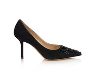 Jimmy Choo Love 85 Black Suede Pump with Embroidery