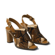 Jimmy Choo Aix 85 Snake Printed Leather Sandal in Cuoio