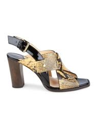 Jimmy Choo Aix 85 Snake Printed Leather Sandal in Dijon