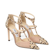 Jimmy Choo Saoni 100 Pink Suede Pump with Crystals