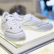 Jimmy Choo Java White Sneakers with Glitter Embellishments